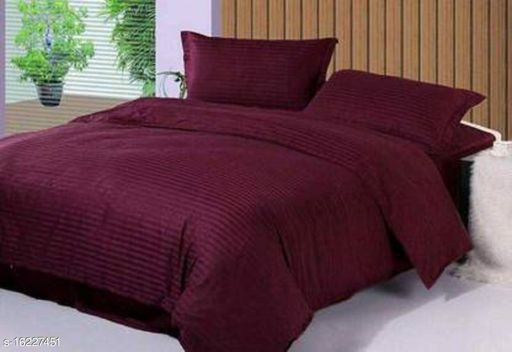 Uniquestyletrader High Quality Satin Double Bedsheet With Two Pillow Covers