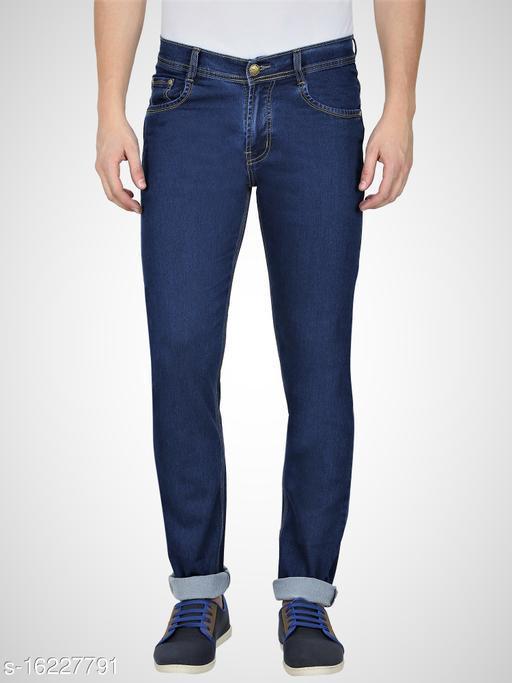 Mens, Navy Blue Silky Denim Regular Fit Stretchable Jeans (NB3386SRD)