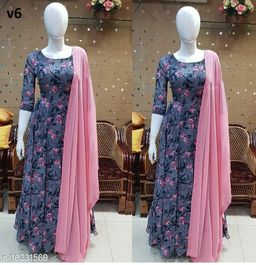 Attractive and Stylish Pink Flower Design Dress Partywear for Women