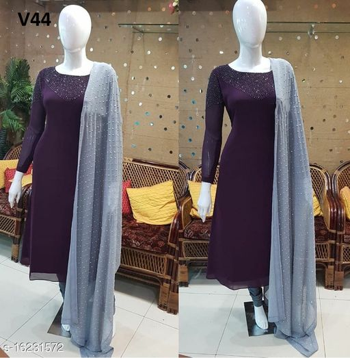 Attractive and Stylish Purple Colored With Diamond Work Partywear for Women