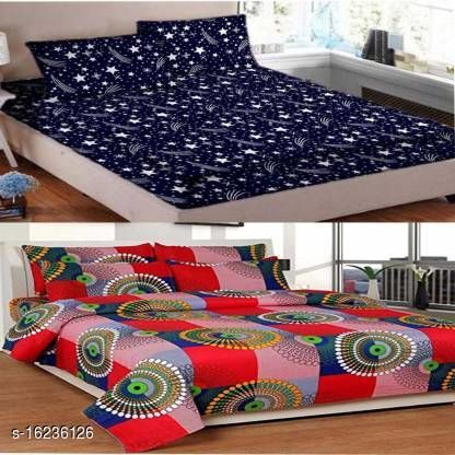 Indian Glace Cotton Double bedsheet 90x90 Pack of 2 Bedsheets