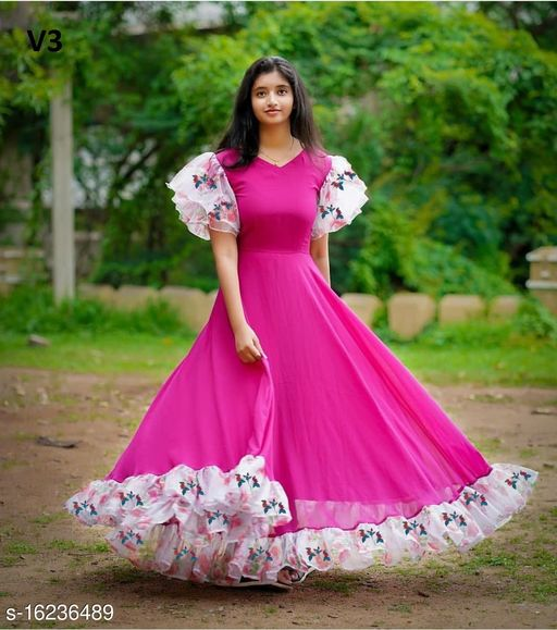 Fashionable Pink Colored Partywear Gown For Women