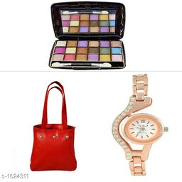 Assorted Color Bag & Eye Shadow With Watch Combo