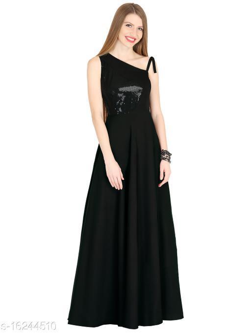Raas Prêt Women's Black Crepe One Shoulder Maxi Dress