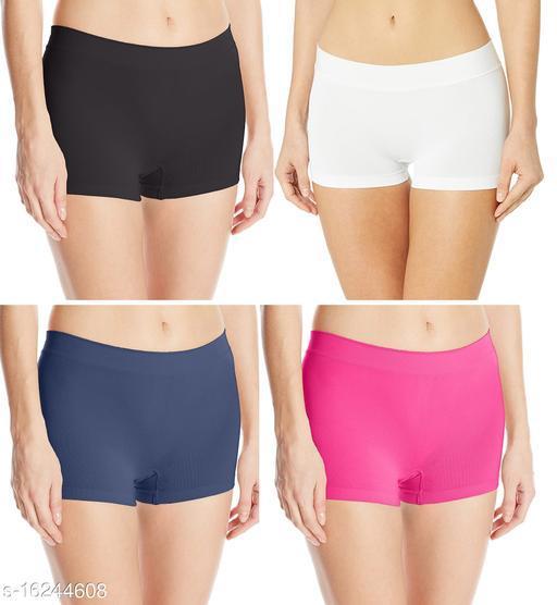 Women Boy Shorts Multicolor Cotton Panty (Pack of 4)