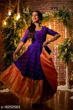 Impressive Designer Violet colored with orange bordered Designer Wear Outfit