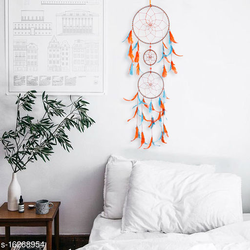 Orange and Sky Blue Color Dreamcatcher Wall Hanging with 3 Rings and Orange and Sky Blue Feathers