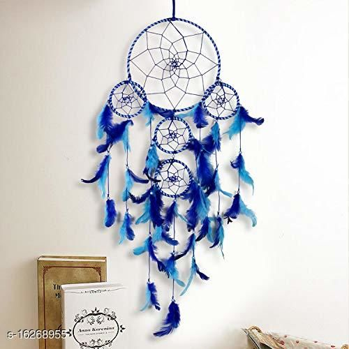 Blue Color Dream catcher Wall Hanging with 5 Rings and Blue Feathers