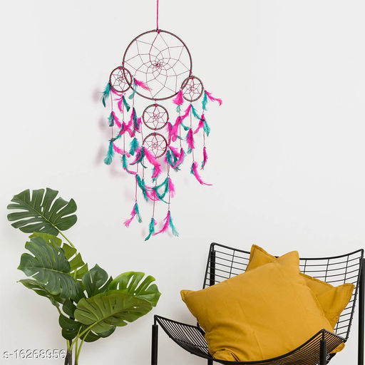 Pink Green Color Dream catcher Wall Hanging with 5 Rings and Pink-Green Feathers