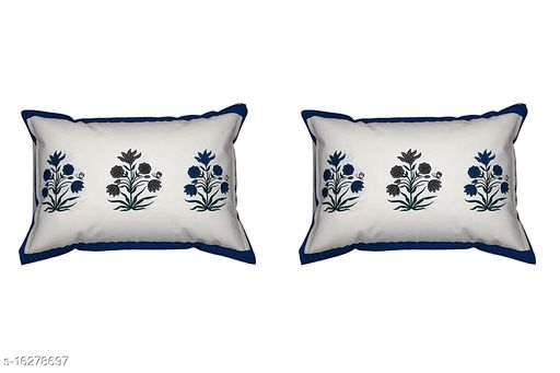HK Collection Flower Design 100 % Pure Cotton Pillow Cover (Set of 2 Pieces)