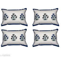 HK Collection Flower Design 100 % Pure Cotton Pillow Cover (Set of 4 Pieces)
