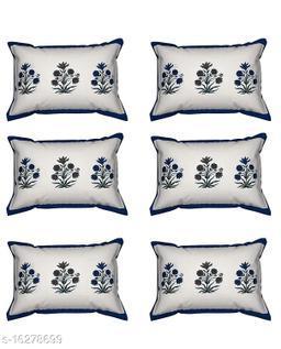 HK Collection Flower Design 100 % Pure Cotton Pillow Cover (Set of 6 Pieces)