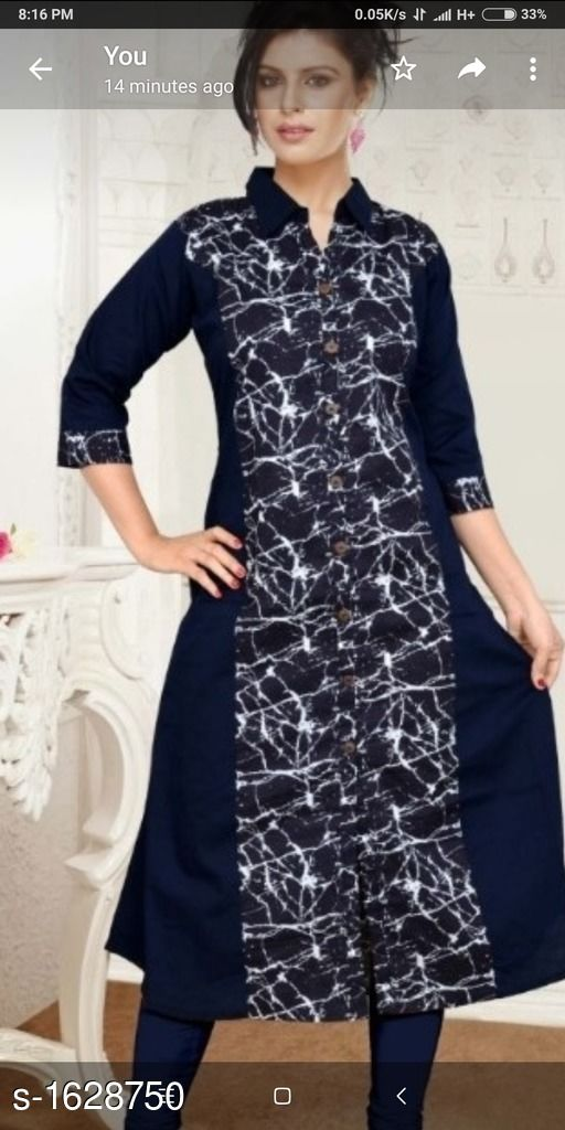 Kurtis & Kurtas Contemporary Cotton Women's Kurti  *Fabric* Cotton  *Sleeves* Sleeves Are Included  *Size* L - 40 in  XL - 44 in, XXL - 48 in           *Length* Up To 48 in  *Type* Stitched  *Description* It Has 1 Piece Of Women's Kurtis  *Work* Printed  *Sizes Available* L, XL, XXL *    Catalog Name: Kashvi Contemporary Cotton  Women's Kurtis Vol 9 CatalogID_212027 C74-SC1001 Code: 753-1628750-