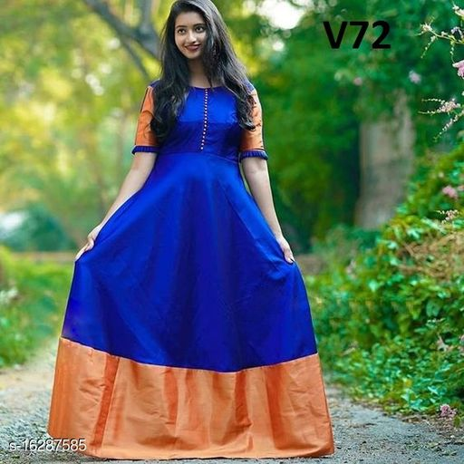 Flamboyant Royal Blue Colored Partywear Trendy Gown
