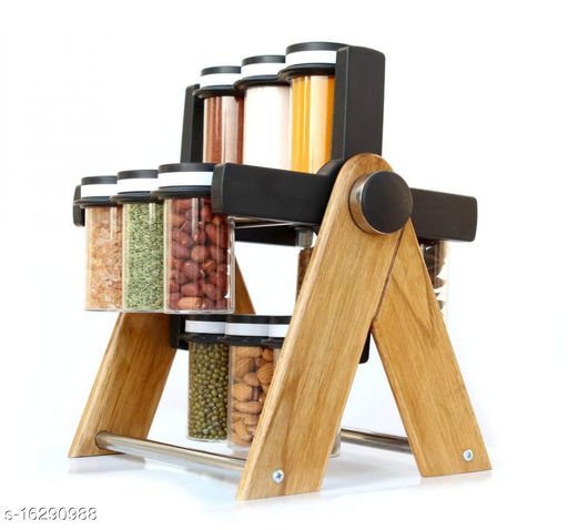 UNIQUE STYLE Wooden Wheel Spice Rack 12 Jar