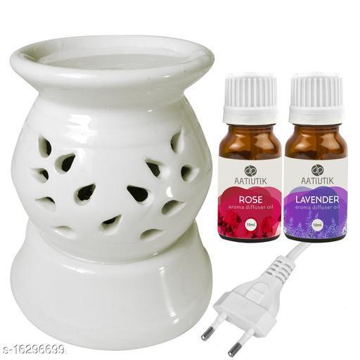 Aatiutik Ceramic Electric Diffuser Aroma Oil Home Fragrance Oil Burner Night Lamp Rose Lavender Aroma Oil 10ml Each for Home office hotel Spa