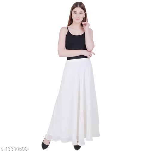 Skirt White Georgette Flared Style