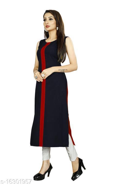Womens Black Color Solid Designer Kurti (Back Side: Red)