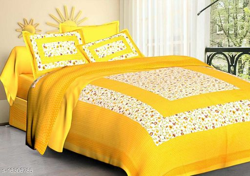 RJ-14Hometread India Double bedsheet with 2 pillow cover
