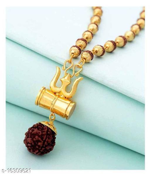 Stylish Men's Multicolor Trisul Rudraksha Chain