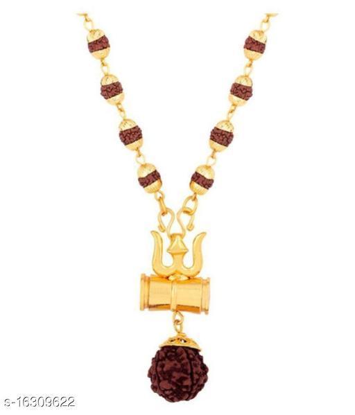Trendy Men's Multicolor Trisul Rudraksha Chain