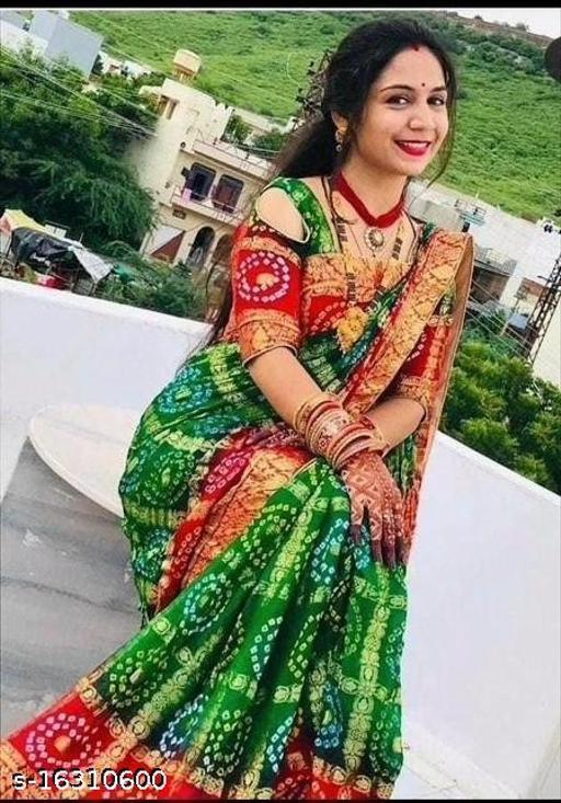 Woman bandhni zari work saree with blouse