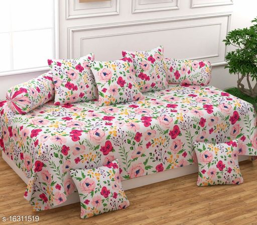 Croton tend presents this designer super soft diwan set with 1 single bedsheet, 5 cushion, 2 bolster.