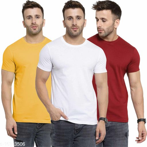 Nessi Men's Cotton Round Neck Solid Tshirts-Pack of 3
