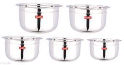 Stainless Steel Maisur Tope set of 5 Piece (1750 ML, 1450 ML, 950 ML, 700 ML, 400 ML)