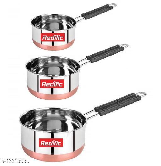 22 Gauge Heavy Stainless Steel Copper Bottom Sauce Pan (1,1.5,2 Liter)