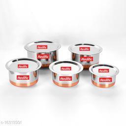 22 Gauge Copper Bottom Tope with lid Set of 5 Piece (Size: 3 Ltr,2.1 Ltr, 1.6 Ltr, 0.95 Ltr, 0.65 Ltr)