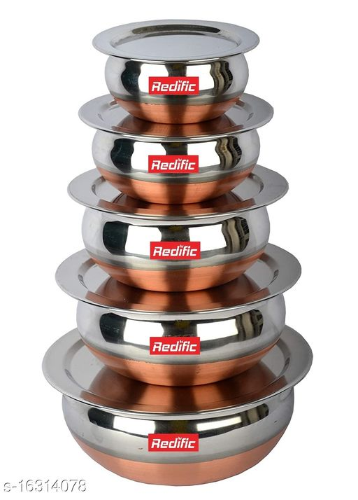 Copper Bottom Handi set with lid 5 Piece (1750 ML, 1450 ML, 950 ML, 700 ML, 400 ML)