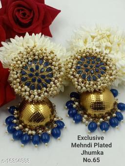 CARANS light weight big size moti jhumka earrings, Blue, 1 pair of earrings