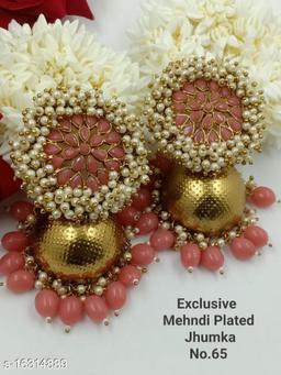 CARANS light weight big size moti jhumka earrings, Peach, 1 pair of earrings