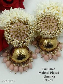 CARANS light weight big size moti jhumka earrings, Pink, 1 pair of earrings