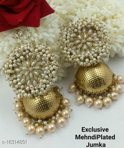 CARANS light weight big size moti jhumka earrings,  Gold, 1 pair of earrings