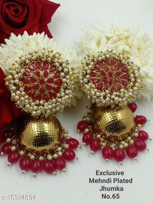 CARANS light weight big size moti jhumka earrings, Red, 1 pair of earrings