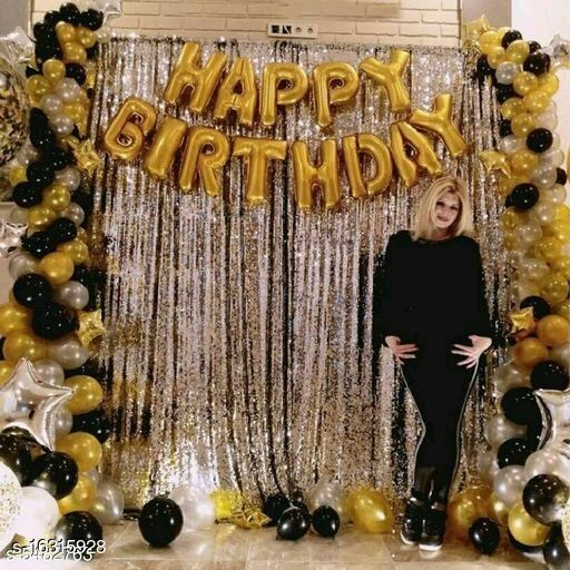 HAPPY BIRTHDAY PARTY BEST DECORATION SET WITH GOLDEN FOIL HAPPYBIRTHDAY (13 PIECE LETTER)+2 PC silver fringe curtain (3*6feet)+30pc Mettalic shine balloon (black sliver golden)