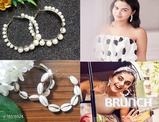 Strigehne Single Pearl and Sea Shell Hoop Combo Earrings