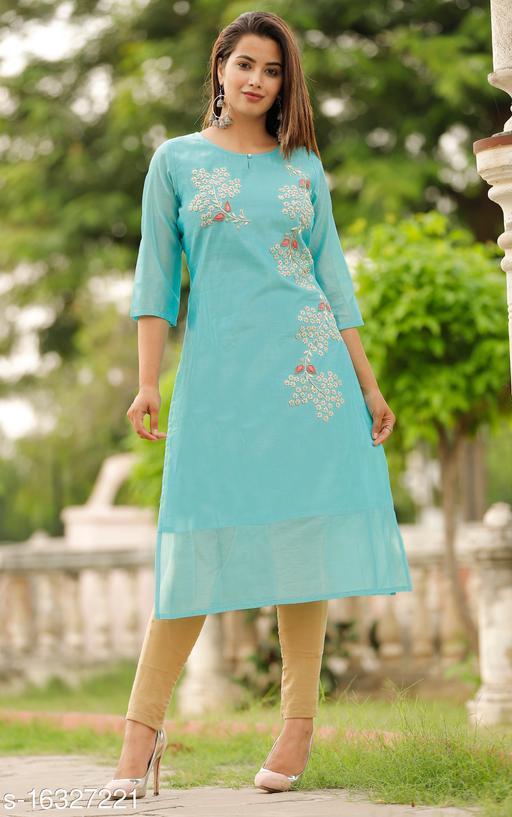 Women's Chanderi Silk Aqua Blue A-line Floral Embroidered Kurti