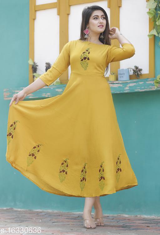 Women Viscose Rayon Flared Printed Mustard Kurti