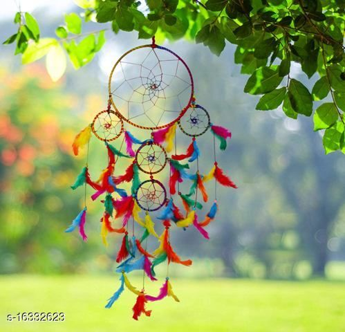 Multicolor Dream catcher Wall Hanging with 5 Rings and Multicolor Feathers