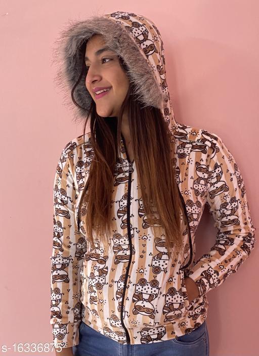 Zyla OWL print open zip sweatshirt