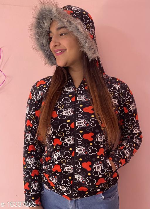 Zyla Mickey print open zip sweatshirt