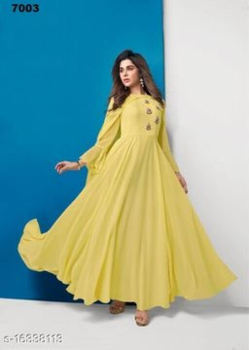 Women Georgette Gown Embroidered Yellow Kurti