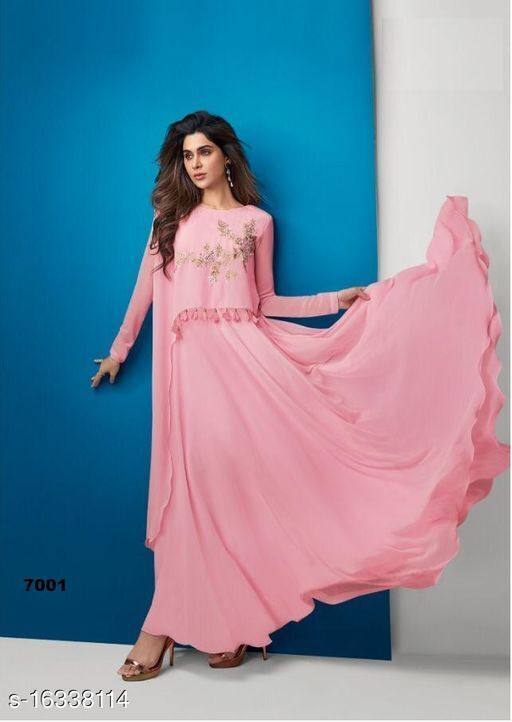 Mesmerising Pink Colored Partywear Embroidered Georgette Gown