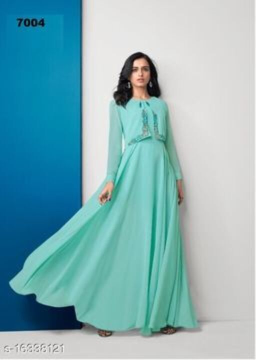 Staring Green Colored Partywear Embroidered Georgette Gown