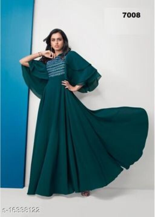 Surpassing Teal Green Colored Partywear Embroidered Georgette Gown