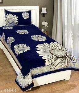 Uniquestyletrader Valvet Single Bedsheet With One Pillow Cover
