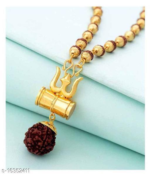Trendy Men's Golden Trisul Rudraksha Chain